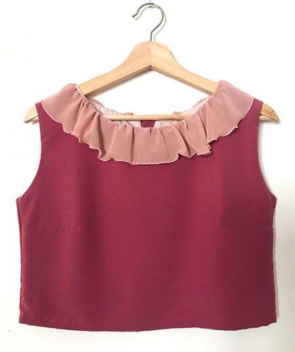 Crop Top Volantes Rosa