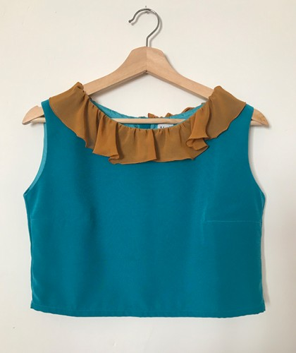 Crop Top Volantes Turquesa